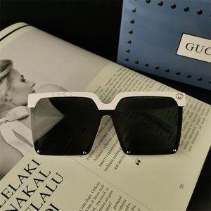 White Square Frame Anti-UV Sunglasses Classic GG-Glasses